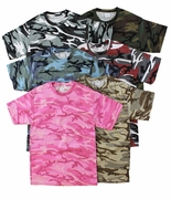 SALE! Camouflage T-Shirts Many Colors!! Pink Green Tan Blue Black Wine 2x 3x 4x
