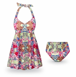 CLEARANCE! Catalina Print Halter Style 2pc Plus Size Swimsuit / SwimDress 1x