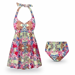 CLEARANCE! Plus Size Catalina Print Halter 2pc Swimsuit/SwimDress 1x 2x 8x