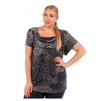 SALE! Charcoal Plus Size Cowlneck Slinky Top 4x