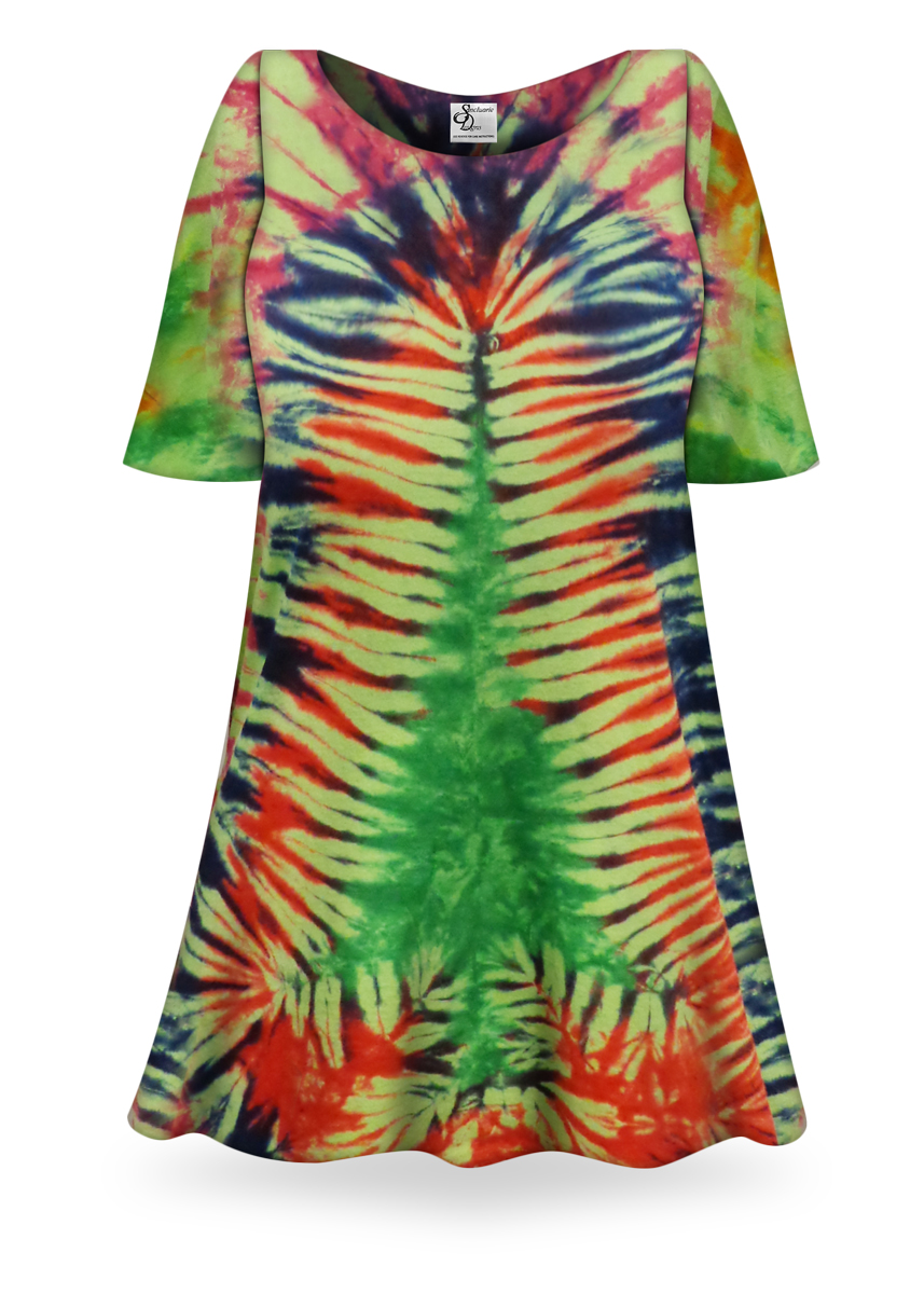 Sale Christmas Tree Tie Dye Supersize X Long Plus Size T