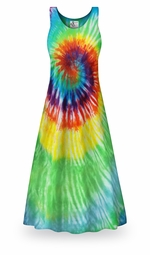 SALE! Classic Rainbow Swirl Tie Dye Plus Size & Supersize Princess Cut Tank Dress 0x 1x 2x 3x 4x 5x 6x 7x 8x