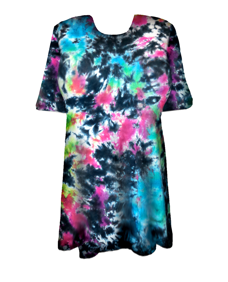 Sale cloudy tropical sky black hot pink green blue tie for Black and blue tie dye t shirts