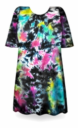 CLEARANCE! Cloudy Tropical Sky Black, Hot Pink, Green, Blue Tie Dye Plus Size T-Shirt 4xl