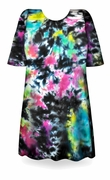 CLEARANCE! Cloudy Tropical Sky Black, Hot Pink, Green, Blue Tie Dye Plus Size T-Shirt 5x