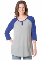 CLEARANCE! Colorblock  Purple Henley Baseball Style Plus Size Top 4x