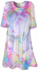 FINAL CLEARANCE SALE! Colorful Pastel Semi-Sheer Plus Size & Supersize Extra Long Swimsuit Coverup or Overshirt T-Shirts 1x