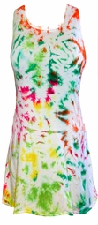 SALE! Colorful White With Lime Green, Red, Yellow, Fuchsia Princess Cut Extra Long Sleeveless Plus Size Supersize Tie Dye Tank Top 1x 2x 3x 4x 5x 6x 7x 8x