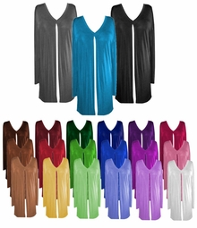 CLEARANCE! Comfy and Casual Solid Colors Plus-Size Slinky Tie Duster Jacket 1x 2x