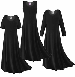 Customizable Black Slinky Plus Size & Supersize Short or Long Sleeve Dresses & Tanks - Sizes Lg XL 1x 2x 3x 4x 5x 6x 7x 8x 9x