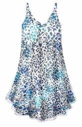 SALE! Customizable Blue Animal Print Sheer A-Line Overshirt Supersize & Plus Size Top 0x 1x 2x 3x 4x 5x 6x 7x 8x