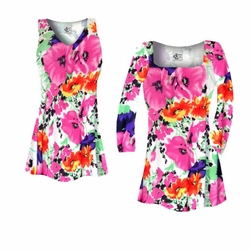 SALE! Customizable Bright Pink & Orange Bellflowers Floral Slinky Print Plus Size & Supersize Short or Long Sleeve Shirts - Tunics - Tank Tops - Sizes Lg XL 1x 2x 3x 4x 5x 6x 7x 8x 9x