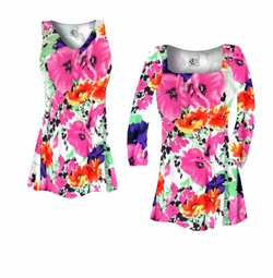 SOLD OUT! SALE! Customizable Bright Pink & Orange Bellflowers Floral Slinky Print Plus Size & Supersize Short or Long Sleeve Shirts - Tunics - Tank Tops - Sizes Lg XL 1x 2x 3x 4x 5x 6x 7x 8x 9x