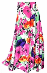 SOLD OUT! SALE! Customizable Bright Pink & Orange Bellflowers Floral Slinky Print Plus Size & Supersize Skirts - Sizes Lg XL 1x 2x 3x 4x 5x 6x 7x 8x 9x