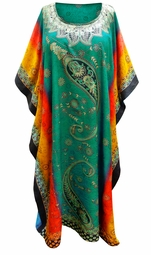 SALE! Customizable Colorful Paisley Print Long Plus Size Caftan Dress or Shirt 1x-6x