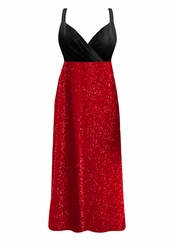 SALE! Customizable Gorgeous Onyx Black & Ruby Red Glimmer Plus Size Slinky Black Empire Waist Dress 0x 1x 2x 3x 4x 5x 6x 7x 8x