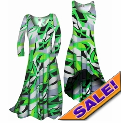 SOLD OUT! Customizable! Green Abstract Geometric Slinky Print Plus Size & Supersize Standard or Cascading A-Line or Princess Cut Dresses & Shirts, Jackets, Pants, Palazzo's or Skirts Lg to 9x