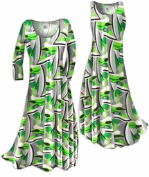 SOLD OUT!! Customizable! Green Gray & Black Geometric Slinky Print Plus Size & Supersize Standard or Cascading A-Line or Princess Cut Dresses & Shirts, Jackets, Pants, Palazzo's or Skirts Lg to 9x
