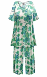 SOLD OUT! SALE! Customizable Green Roses Print Plus Size & SuperSize 2 Piece Pajama Pant Set 0x 1x 2x 3x 4x 5x 6x 7x 8x 9x