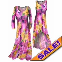 SOLD OUT! SALE! Customizable! Lightweight Pink & Orange Floral Print Slinky Plus Size & Supersize Straight or Cascading A-Line or Princess Cut Dresses & Shirts, Jackets, Pants, Palazzo's or Skirts Lg XL 0x 1x 2x 3x 4x 5x 6x 7x 8x 9x