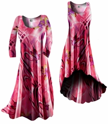 SOLD OUT!!!!!!!!!!!!!!!!!!!!! Customizable! Pink & Purple Abstract Floral Slinky Plus Size & Supersize Standard or Cascading A-Line or Princess Cut Dresses & Shirts, Jackets, Pants, Palazzo's or Skirts Lg to 9x