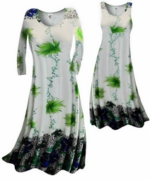 sold out!!!!!!!!!!!! SALE! Customizable! New! White & Green Floral Yummy Slinky Plus Size & Supersize Customizable A-Line or Princess Cut Dresses & Shirts, Jackets, Pants, Palazzo's or Skirts Lg to 9x