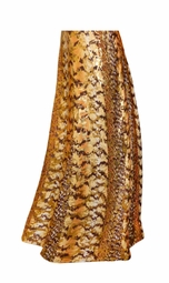 SOLD OUT! SALE! Customizable Orange, Brown, and Yellow Autumn Leaves Metallic Slinky Print Plus Size & Supersize Skirts - Sizes Lg XL 1x 2x 3x 4x 5x 6x 7x 8x 9x