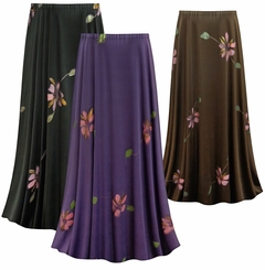 SOLD OUT! SALE! Customizable Painterly Florals Slinky Print Plus Size & Supersize Skirts - Sizes Lg XL 1x 2x 3x 4x 5x 6x 7x 8x 9x
