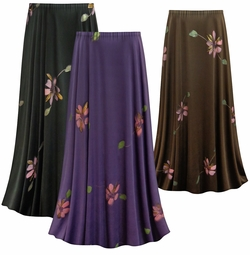 SALE! Customizable Painterly Florals Slinky Print Plus Size & Supersize Skirts - Sizes Lg XL 1x 2x 3x 4x 5x 6x 7x 8x 9x