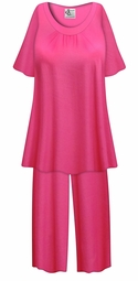 SALE! Customizable Plus Size Hot Pink Light Weight 2 Piece Pajama Pant Set 0x 1x 2x 3x 4x 5x 6x 7x 8x 9x