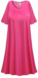 SALE! Customizable Plus Size Hot Pink Light Weight Sleep Gown - Muumuu - Moo Moo Dress 0x 1x 2x 3x 4x 5x 6x 7x 8x 9x