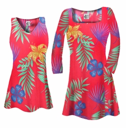 SOLD OUT! SALE! Customizable Red With Blue Tropical Flowers Slinky Print Plus Size & Supersize Short or Long Sleeve Shirts - Tunics - Tank Tops - Sizes Lg XL 1x 2x 3x 4x 5x 6x 7x 8x 9x