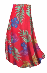 SALE! Customizable Red With Blue Tropical Flowers Slinky Print Plus Size & Supersize Skirts - Sizes Lg XL 1x 2x 3x 4x 5x 6x 7x 8x 9x