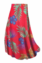 SOLD OUT! SALE! Customizable Red With Blue Tropical Flowers Slinky Print Plus Size & Supersize Skirts - Sizes Lg XL 1x 2x 3x 4x 5x 6x 7x 8x 9x