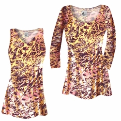 SALE! Customizable Salmon Red Ornate With Gold Metallic Slinky Print Plus Size & Supersize Short or Long Sleeve Shirts - Tunics - Tank Tops - Sizes Lg XL 1x 2x 3x 4x 5x 6x 7x 8x 9x
