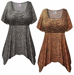 SOLD OUT! SALE! Customizable Shimmery Leopard Plus Size & Supersize Babydoll Top 0x 1x 2x 3x 4x 5x 6x 7x 8x