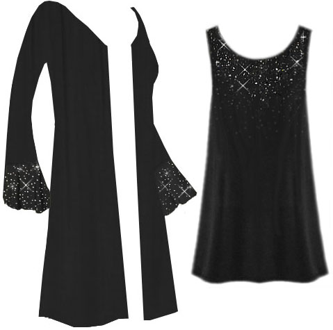 3601356bdb2b6 Customizable Starry Night Plus Size   Supersize Jacket   Tank Top Set With Sparkly  Silver Rhinestuds! 0x 1x 2x 3x 4x 5x 6x 7x 8x 9x