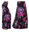 CLEARANCE! Black With Fuschia Rose Buds Slinky Print Plus Size Palazzo Pants and Skirts 1x