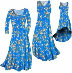 SOLD OUT! Customize Cerulean Blue With Oriental Lily Slinky Print Plus Size & Supersize Standard or Cascading A-Line or Princess Cut Dresses 0x