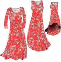 SOLD OUT! Customize Imperial Red With Oriental Lily Slinky Print Plus Size & Supersize Standard or Cascading A-Line or Princess Cut Dress 0x1x