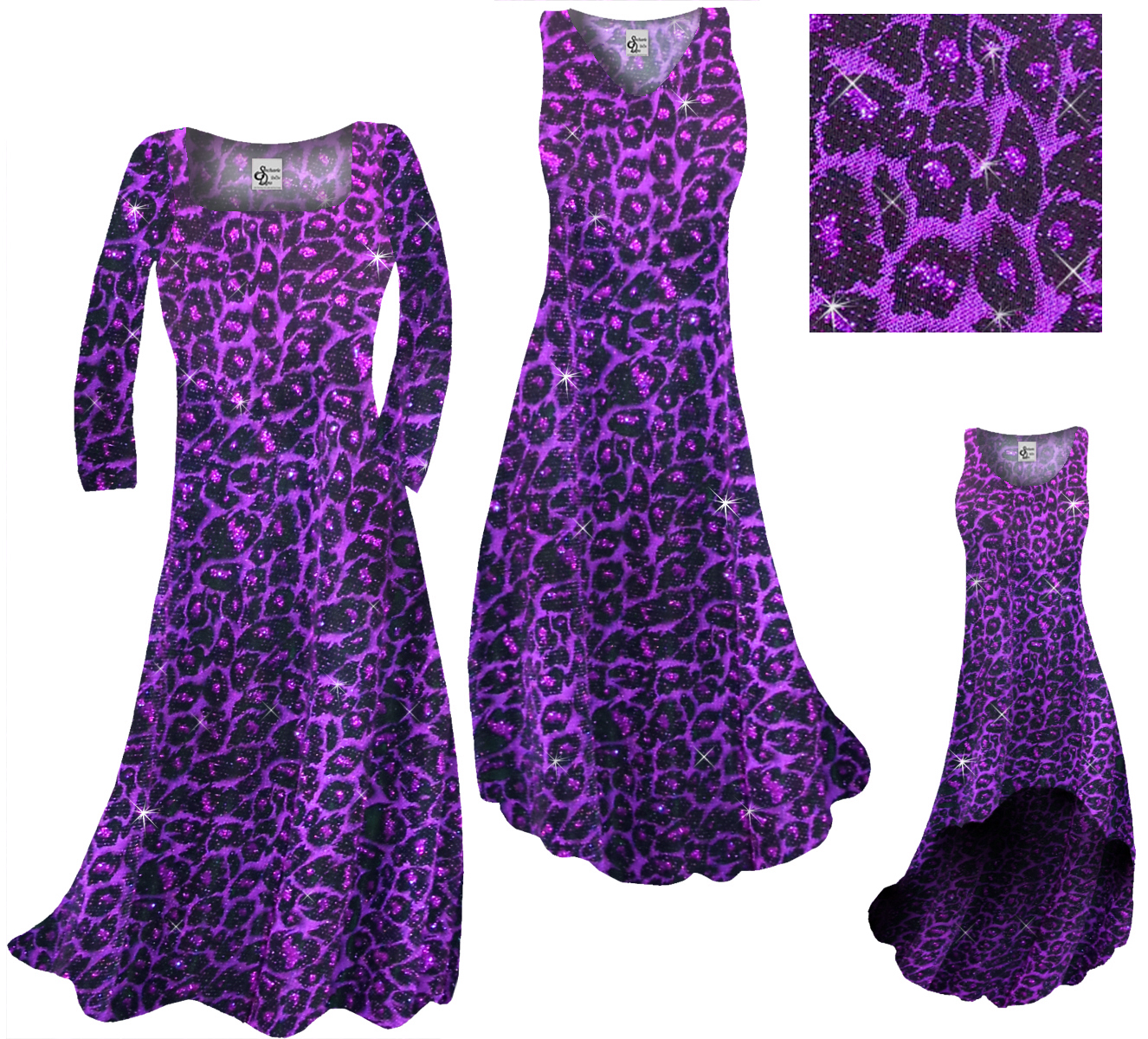 4ea4c0abf6aeb SOLD OUT! SALE! Customizable Purple Leopard Glittery Print Plus Size A-Line  Dress 1x
