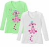 Sold Out! Cutest Pink Puppy with Blue Bow V Neck / Round Neck Long Sleeve Plus Size Shirt White Lime 4x 5x