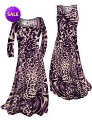 SOLD OUT! SALE! Dark Purple Animal Skin Print Slinky Plus Size & Supersize A-Line Dresses 3x