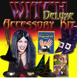 Sale! Deluxe Witch Accessory Kit! Broom  Hat, Nails, Makeup, Wig, Shoe Covers, Nose and Chin Set