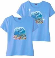 SOLD OUT! Shipwreck Dolphin Family Light Blue & Add Rhinestuds Round Neck Petite Plus Size T-Shirt 2x 3x