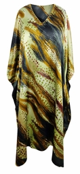 SALE! Customizable Plus Size Earth Tones Abstract Print Long Caftan Dress or Shirt 1x-6x