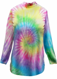 SALE! Easter Egg Swirl Pastel Tie Dye Plus Size Long Sleeve Shirt 3x
