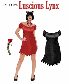 SALE! Luscious Lynx Plus Size & Supersize Halloween Costume Dress / Accessory Kit! Lg XL 0x 1x 2x 3x 4x 5x 6x 7x 8x 9x
