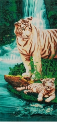 "SOLD OUT! SALE! Large Oversize Soft Cotton Velour Tiger Oasis Print Beach Towel! 27"" x 54"""
