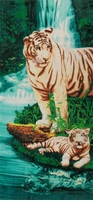"""SOLD OUT! SALE! Large Oversize Soft Cotton Velour Tiger Oasis Print Beach Towel! 27"""" x 54"""""""